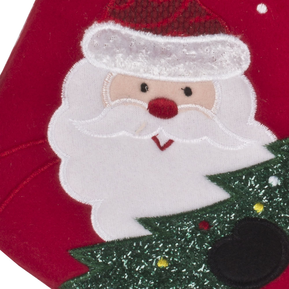 Santa With Tree Design Christmas Stocking - 40cm