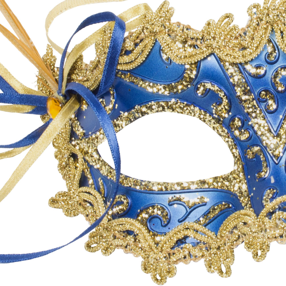 Decorative Dark Blue & Gold Opera Mask - 15cm x 8cm