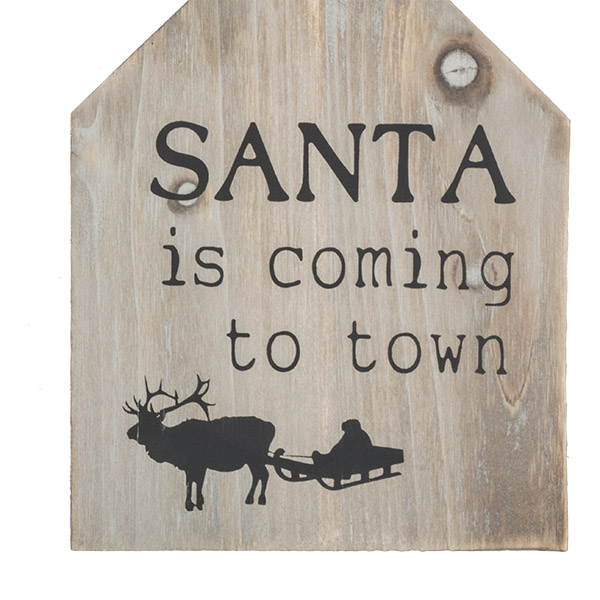 ''Santa Is Coming To Town'' Wooden Sign - 13cm X 17cm