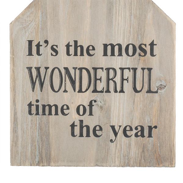 ''It's The Most Wonderful Time Of The Year'' Wooden Sign - 13cm X 17cm