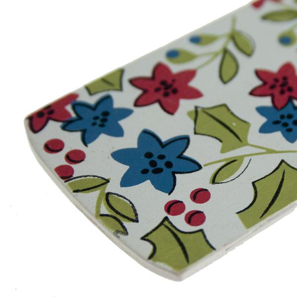 Gisela Graham Vintage Wooden Holly & Flower Gift Tag - 9cm
