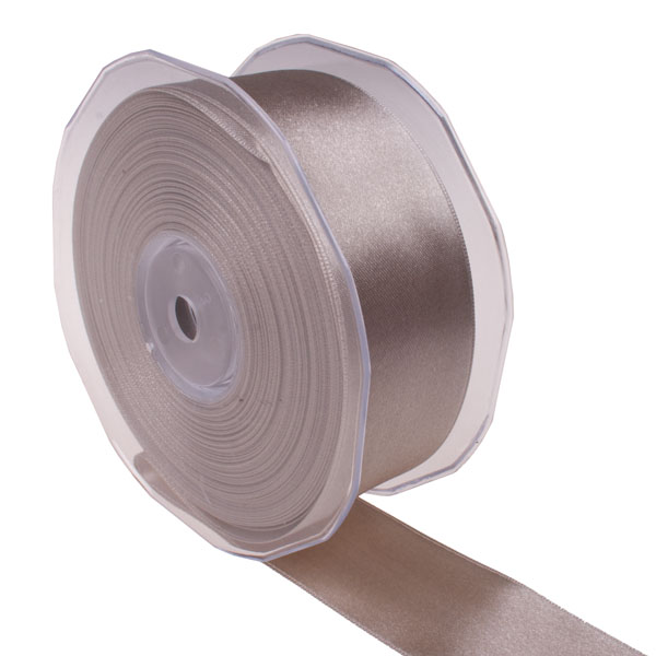 Taupe Double Face Satin Ribbon - 25m x 38mm