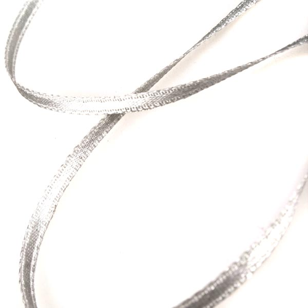 Silver Double Face Satin Ribbon - 50m x 3.5mm
