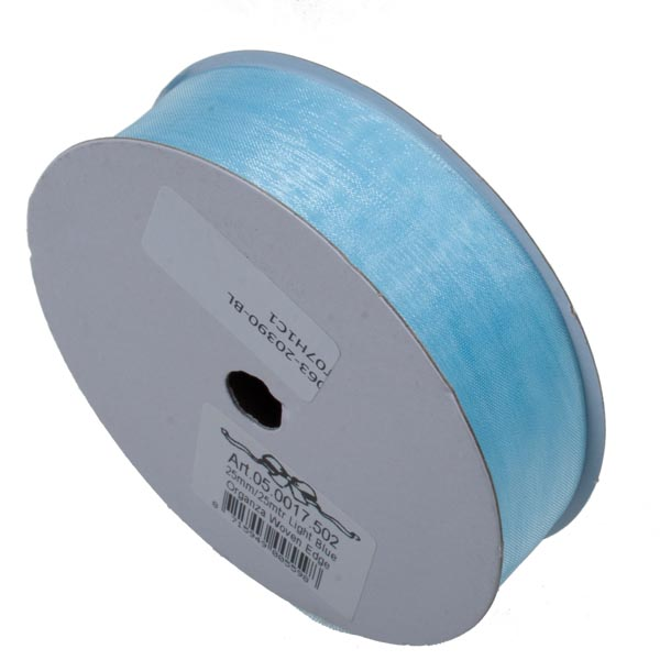 Light Blue Organza Woven Edge Ribbon - 25m x 25mm