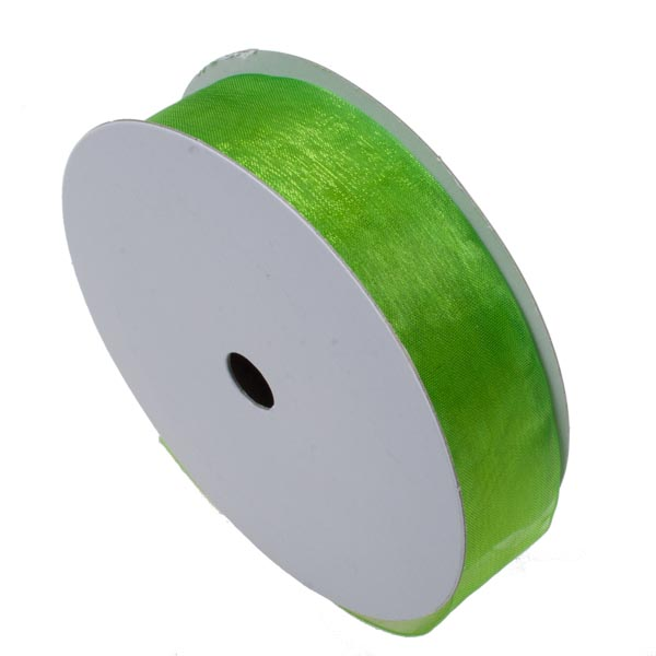 Apple Green Organza Woven Edge Ribbon - 25m x 25mm