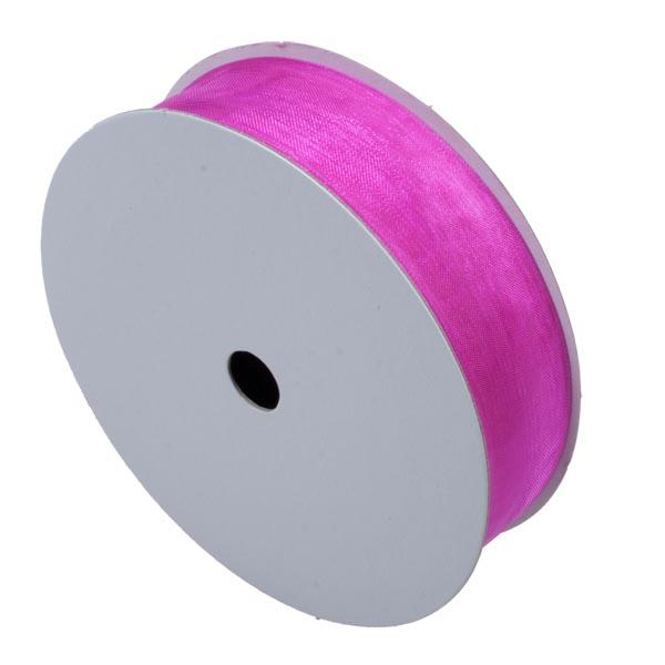Hot Pink Organza Woven Edge Ribbon - 25m x 25mm