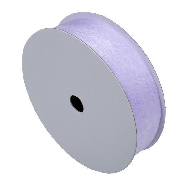 Lilac Organza Woven Edge Ribbon - 25m x 25mm