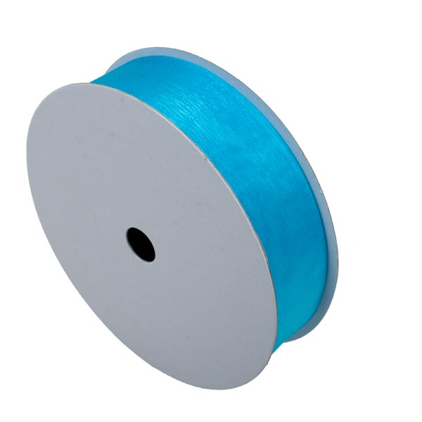 Turquoise Organza Woven Edge Ribbon - 25m x 25mm