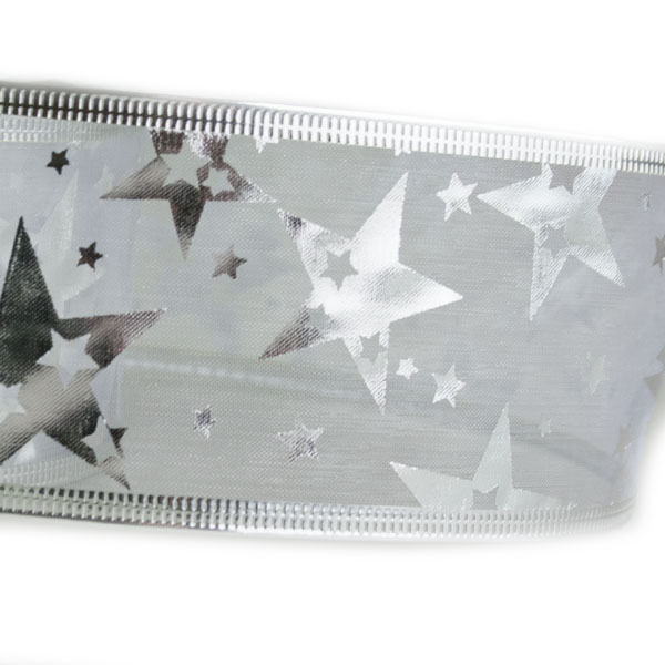 White With Silver Stars Design Wire Edged Sheer Ribbon - 6cm X 2.7m