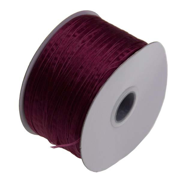 Bordeaux Red Organza Woven Edge Ribbon - 3mm X 50m