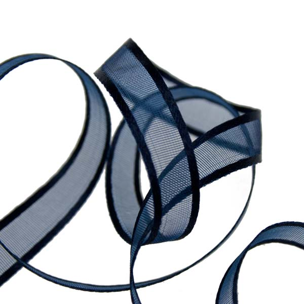 Navy Blue Organza Satin Edge Ribbon - 10mm X 50m