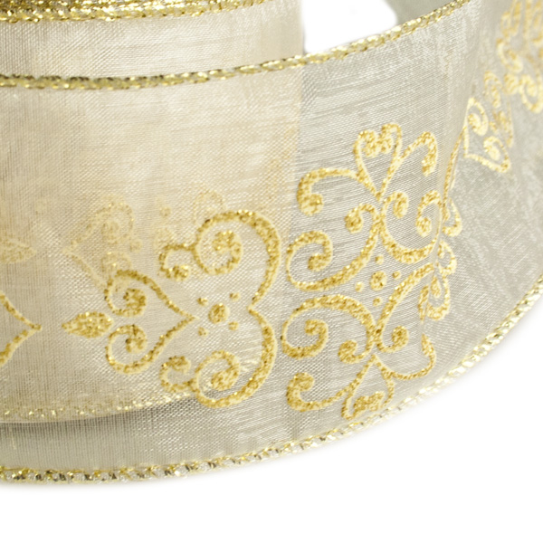 Sheer Ivory Vintage Christmas Ribbon - 6cm X 2.7m
