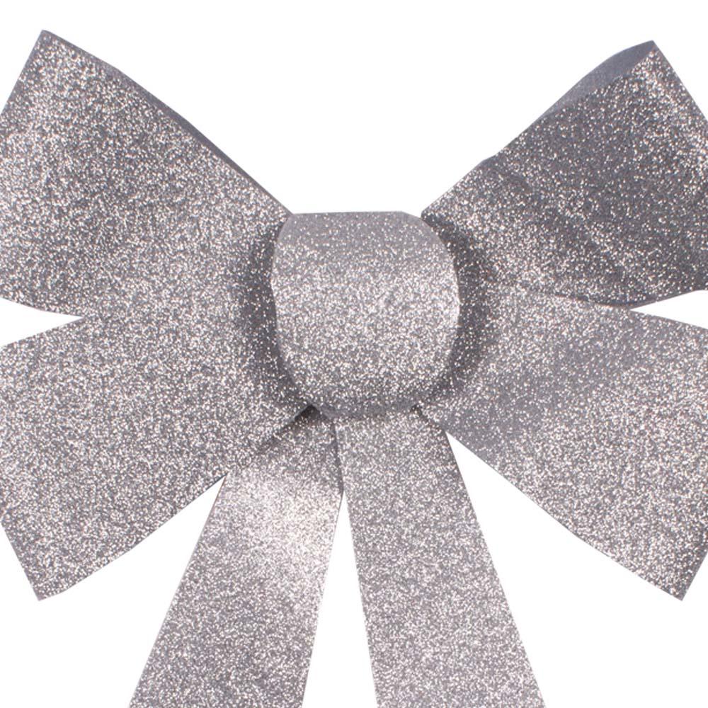 Silver Glitter Bow Decoration - 40cm x 27cm