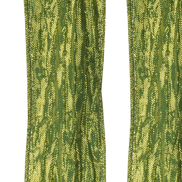 Moss Green Two Tone Crinkled Satin Wire Edged Ribbon - 10m X 38mm
