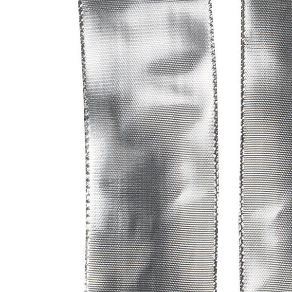 Silver Mirrored Finish Wire Edged Ribbon - 20m x 38mm