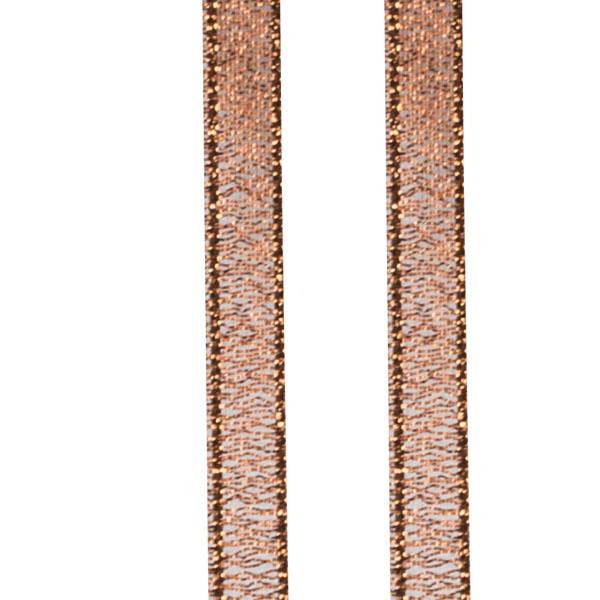 Copper Glitter Organza Ribbon - 25m x 6mm