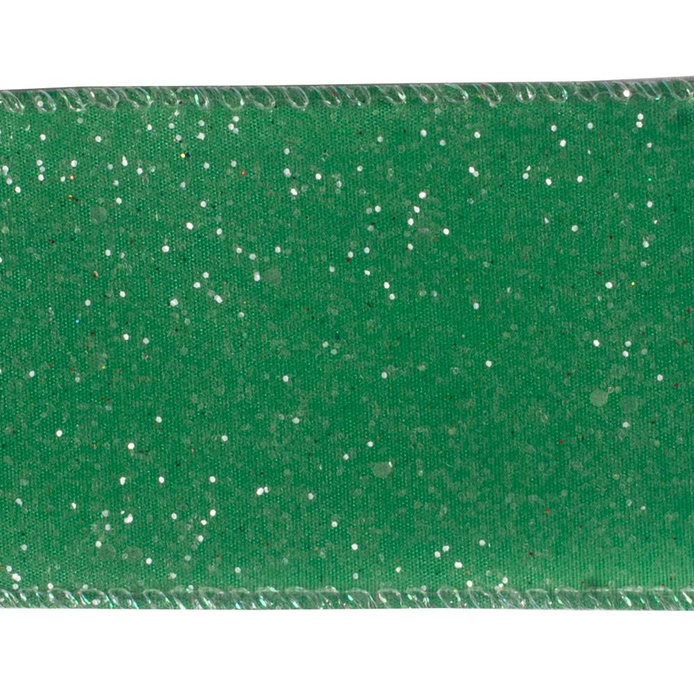 Green Wire Edged Glitter Ribbon - 6cm X 2.7m