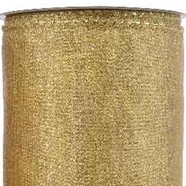 Gold Glitter Design Wire Edged Ribbon - 12cm X 2.7m