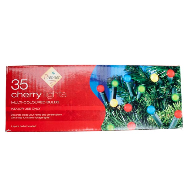 Premier 3.4m Length Of 35 Indoor Multicoloured Cherry Fairy Lights Green Cable