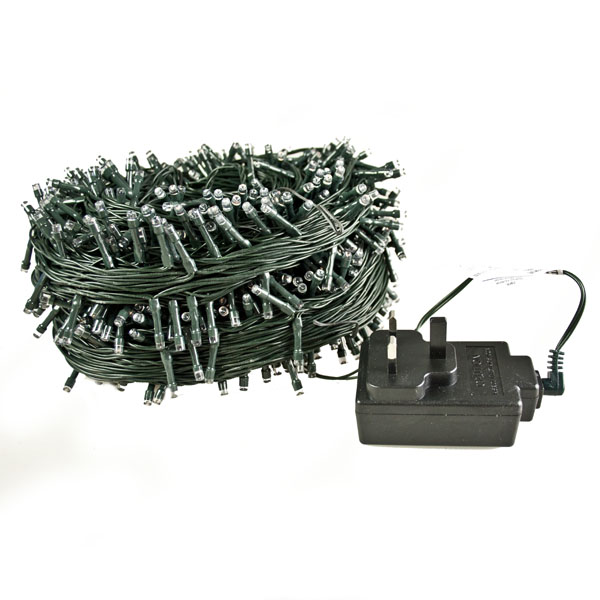 120m Length Of 1200 Warm White Multi Action Outdoor Premier Supabrights LED Fairy Lights Green Cable