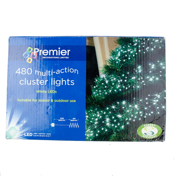 6.2m Length Of 480 Multiaction White Outdoor LED Cluster Fairy Lights Green Cable (110-20028-WH)