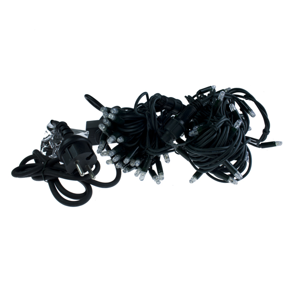 10m Length Of 100 Blue & Red Outdoor Static Connectable Light Creations LED String Fairy Lights.Black Cable