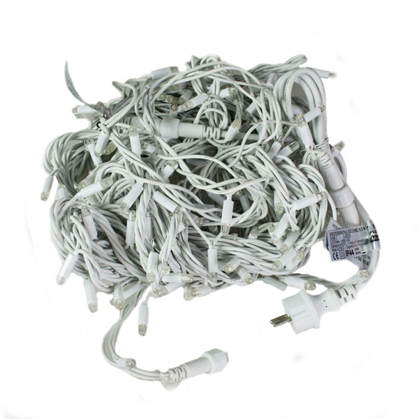 Festilight 20m Length Of 200 Indoor & Outdoor White Connectable Animatable LED String Lights  On White Rubber Cable