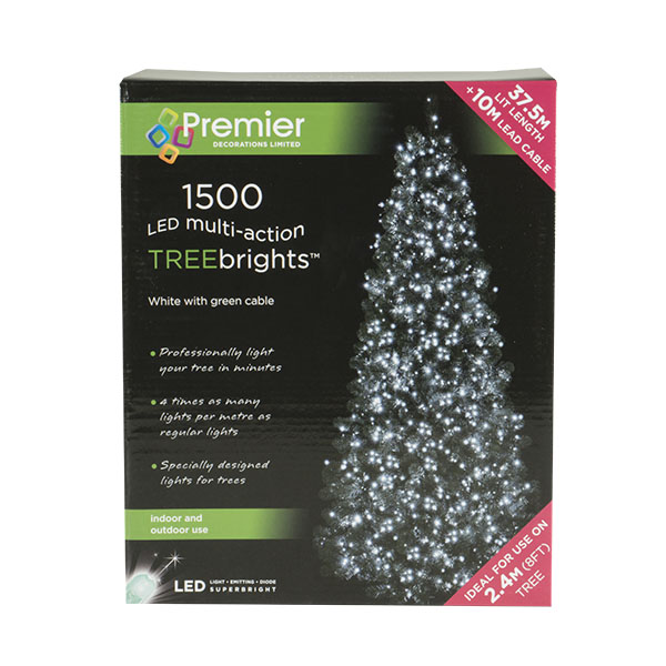 1500 White Multi Action Outdoor Treebrights LED Fairy Lights On Green Cable
