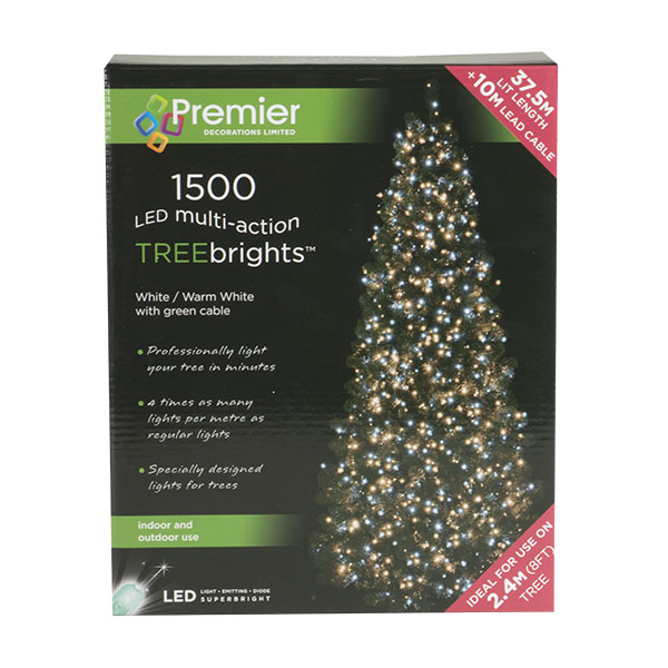 1500 Warm White With White Multi Action Outdoor Treebrights LED Fairy Lights On Green Cable (110-28973-150-WM)