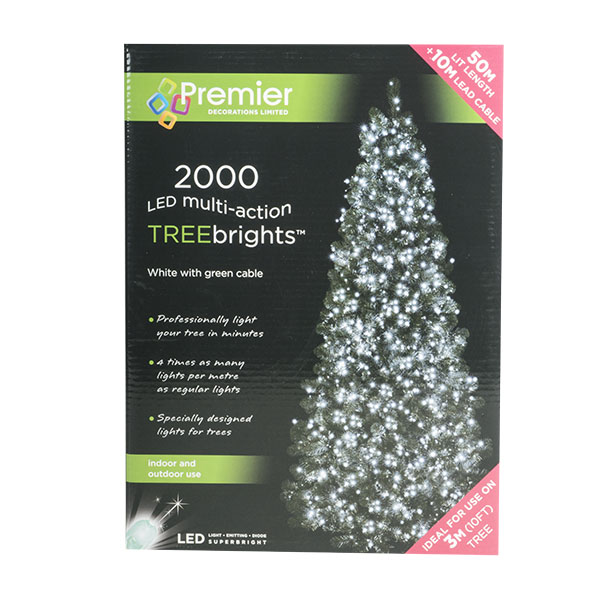 2000 White Multi Action Outdoor Treebrights LED Fairy Lights On Green Cable