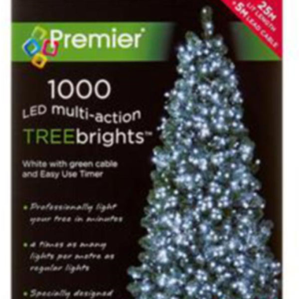 Premier 1000 White Treebrights Multi Action LED Fairy Lights On Green Cable With Timer
