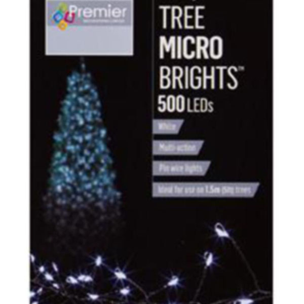 Premier 10m length of 500 White Indoor & Outdoor Multi Action Micro LED Treebright Fairy Lights With Timer On Silver Wire