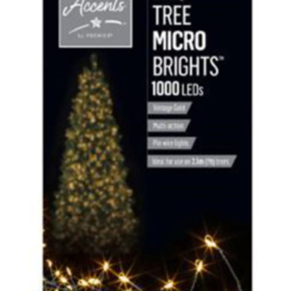 Premier 20m length of 1000 Vintage Gold Indoor & Outdoor Multi Action Micro LED Treebright Fairy Lights With Timer On Silver Wire