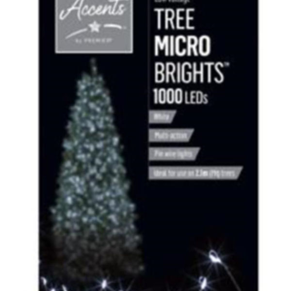 Premier 20m length of 1000 White Indoor & Outdoor Multi Action Micro LED Treebright Fairy Lights With Timer On Silver Wire