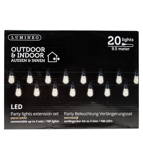 Clear LED 20 Bulb Festoon Party Lights Add On Set