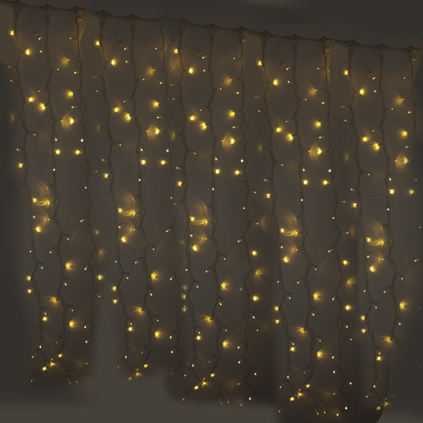 Light Creations 2m Width X 1.5m Drop 240 Warm White LED Indoor Connectable Curtain Light White Cable