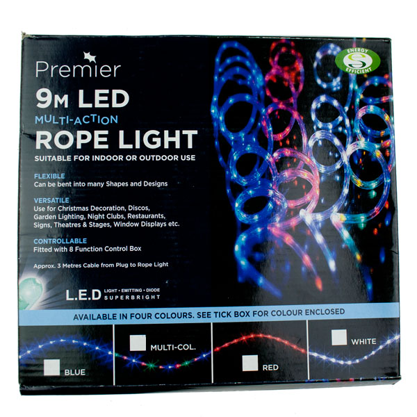 Multi Action 9m Outdoor Multicoloured LED Ropelight