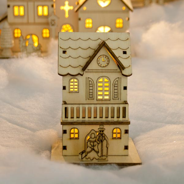 Noma Laser Cut Crafted Wooden 1 White Led Indoor Static Mini House