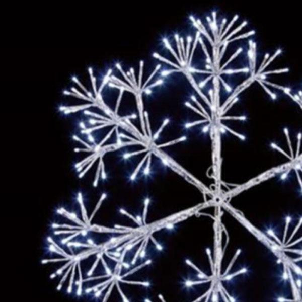 Silver With White LEDs Starburst Snowflake Silhouette - 90cm