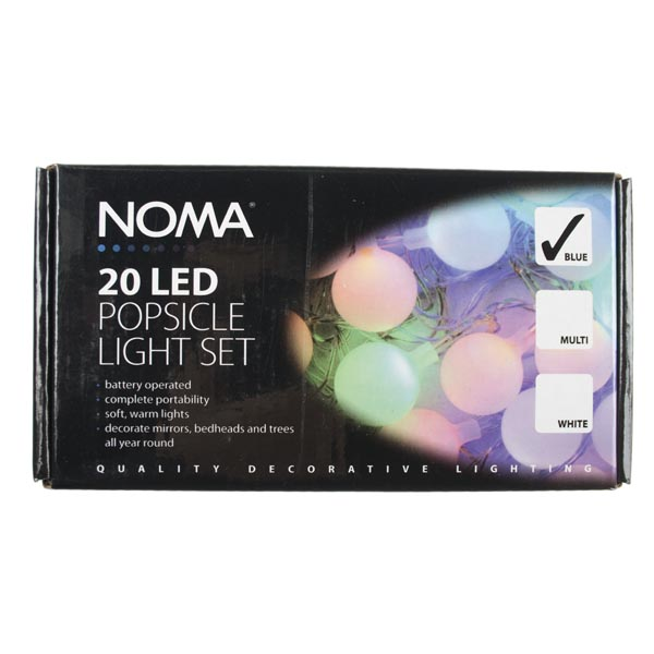 Noma 1.9m Set Of 20 Battery Operated Static Indoor Blue LED Popsicle Fairy Lights Clear Cable