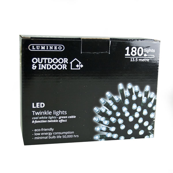 13.5m Length Of 180 Indoor & Outdoor Multifunction White LED Fairy Lights On A Green Cable
