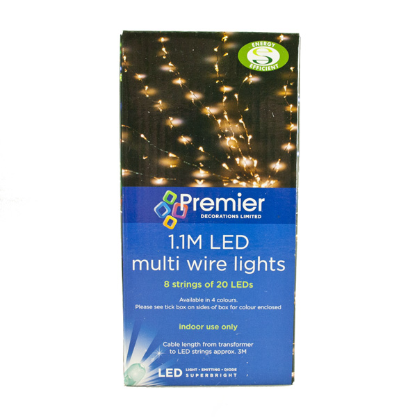 Premier 1.1m Length Of 160 Indoor Static LED Flower Lights On Fine Silver Wire