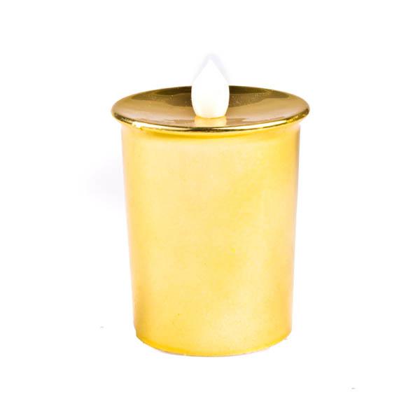 Battery Operated Gold Metallic LED Flickering Tea Light - 6cm