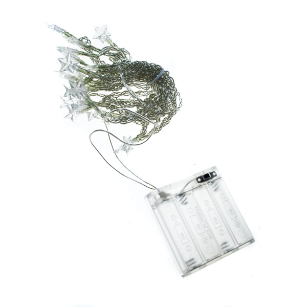 Konstsmide 2.85m Length Of 20 White Indoor Static Battery Operated LED Fairy Lights Transparent Cable