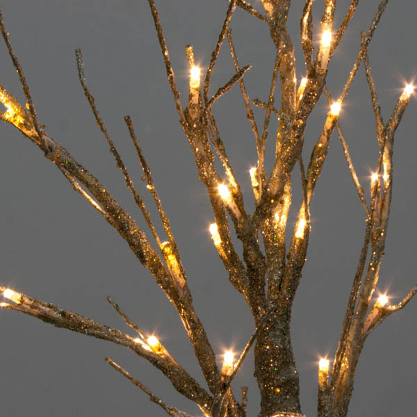 Battery Operated Gold Glitter Twig Tree with Warm White LED's - 60cm (123-23281-GG)