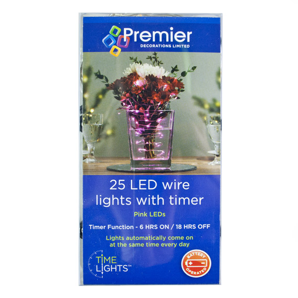 Premier 25 Indoor & Outdoor Waterproof Static 2.5m Set Of Battery Operated Pink LED Fine Wire Lights With Timer