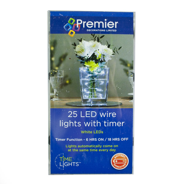 Premier 25 Indoor & Outdoor Waterproof Static 2.5m Set Of Battery Operated White LED Fine Wire Lights With Timer