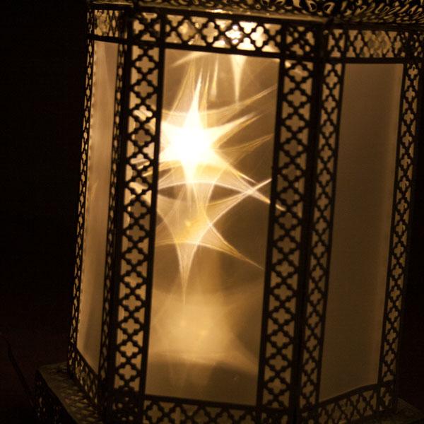 Noma White Metal Rotating Filigree Lantern With Holographic Stars