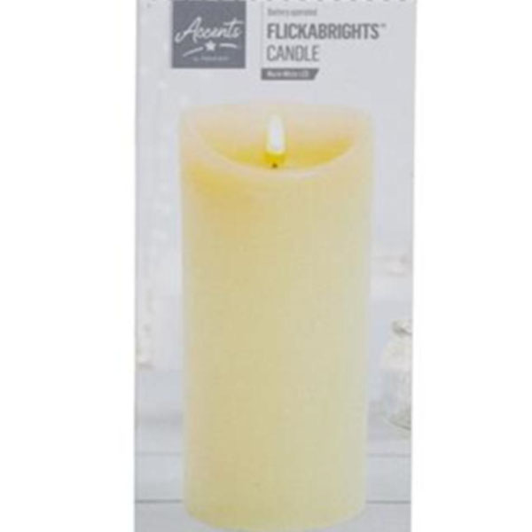 Battery Operated Cream Candle With Timer - 23cm x 9cm