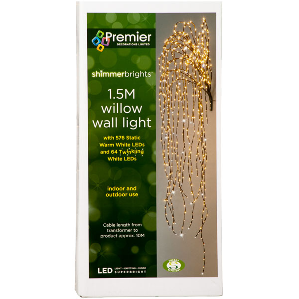 Artificial Indoor Or Outdoor Wall Willow Branch With 640 Warm White Static LED Fairy Lights